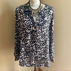 adrianna papell leopard print blouse